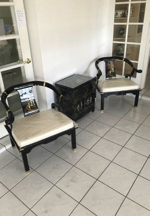 Chinese chairs and cabinet with four picture frames for Sale in South Miami, FL