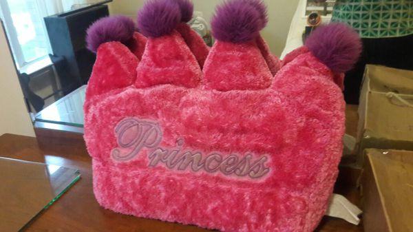 Princess Crown shaped fuzzy pillow!