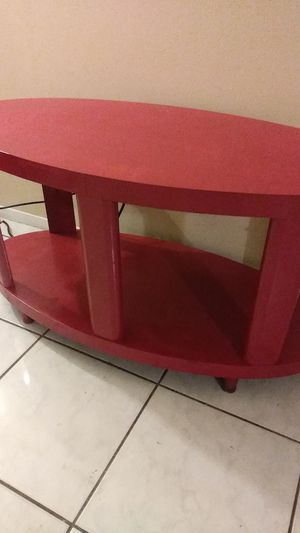 Uqique Red table. Tv stand/ end table/ sofa table for Sale in Pompano Beach, FL