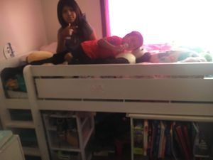 Kids loft bed with book case for Sale in San Francisco, CA
