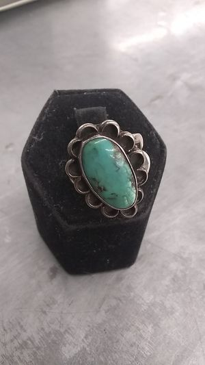 Turquoise in silver ring w/ design for Sale in Mesa, AZ