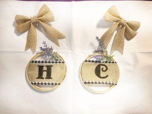 Personalized burlap hoop ornaments for Sale in Enterprise, AL
