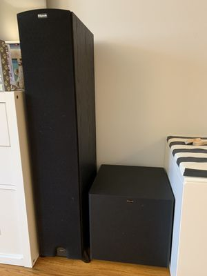 Klipsch Icon KF-26 Floorstanding Speakers (Pair) - Black and Klipsch Sub-8 II Compact Powered Subwoofer for Sale in Queens, NY
