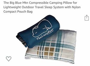 The Big Blue Mtn Compressible Camping Pillow for Lightweight Outdoor Travel Sleep System with Nylon Compact Pouch Bag for Sale in Margate, FL