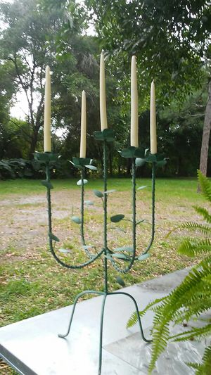 Vintage wrought iron shabby chic candelabra for Sale in Land O' Lakes, FL