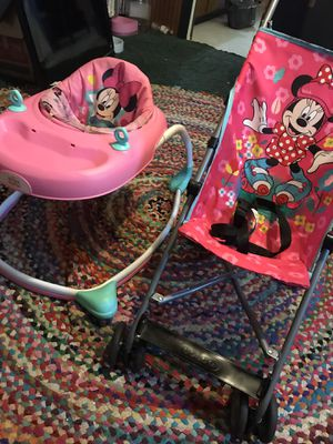 Costco Minnie mouse stroller/Disney bright starts Minnie mouse walker! New!! for Sale in Savannah, GA