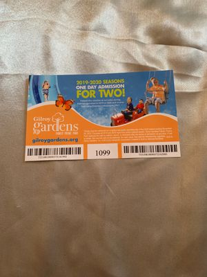 Gil Roy gardens ticket one day admission for two for Sale in Morro Bay, CA
