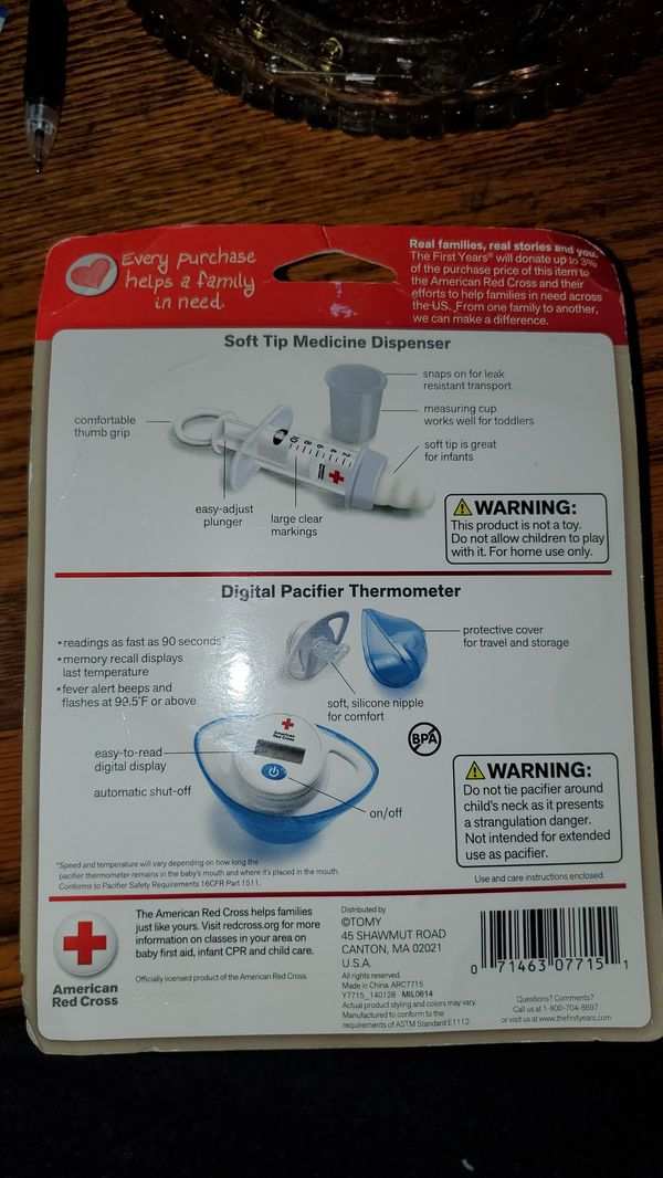 American Red Cross soft-tip medicine dispenser and digital pacifier thermometer