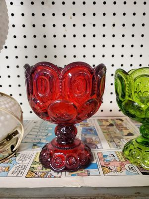 """L.E Smith Moon & Stars Glassware Amberina Red Pedestal Candy Dish 5.5""""T for Sale in Erie, PA"""