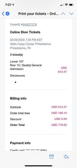 Celine Dion Tickets for Sale in Lansdale, PA