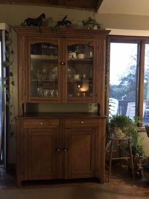 Golden oak china cupboard for Sale in Warrenton, VA