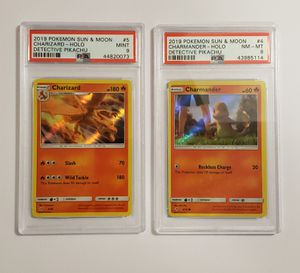 **2 Card Lot**2019 Charizard #5/Charmander #4 PSA Grade Detective Pikachu Pokemon Card for Sale in Chula Vista, CA