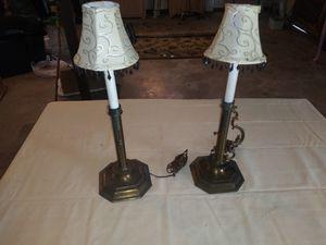Set of two vintage bronze brass candle holder lamps for Sale in PT ORANGE, FL