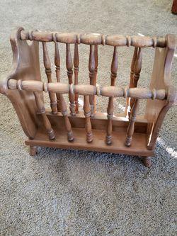 Vintage wood magazine rack, 18h x 17l x 12w for Sale in Anaheim,  CA