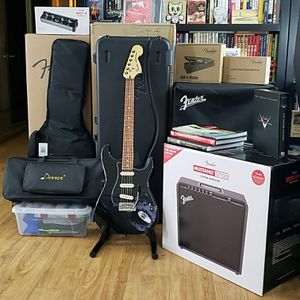 Deluxe Fender Stratocaster, Mustang GT100, Fender Pedals and so much more ALL NEW NEVER USED! for Sale in Visalia, CA
