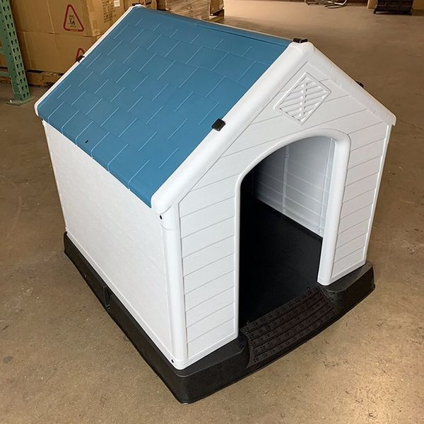 """(NEW) $75 Plastic Dog House Medium/Large Pet Indoor Outdoor All Weather Shelter Cage Kennel 35x31x32"""""""