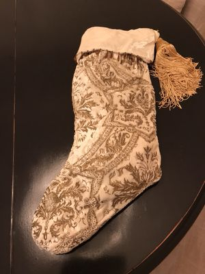 Santa's boot beaded ivory velvety fabric and tassel for Sale in Winter Garden, FL