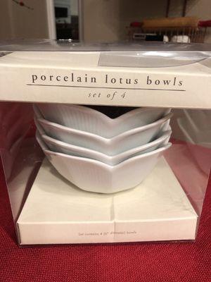"4 New Pier 1 imports porcelain Lotus bowls, 6"" diameter bowls for Sale in Corona, CA"
