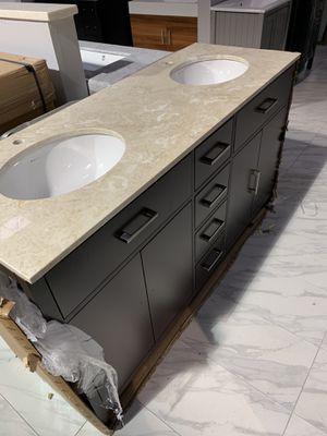 "60"" Double Sink Bathroom Vanity Cabinet With Beige Marble Top for Sale in Fairfax, VA"