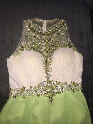 Formal dress mint green and silver heels for Sale in US