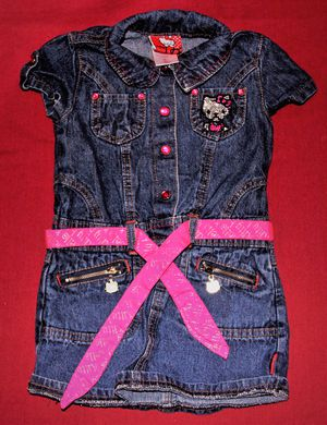 Hello Kitty 4T Denim Dress with Zipper Pulls, Cute Pink Buttons & Belt for Sale in OR, US