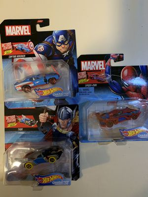 Marvel hot wheels toy collectibles Captain America, Thor, Spiderman for Sale in Victorville, CA