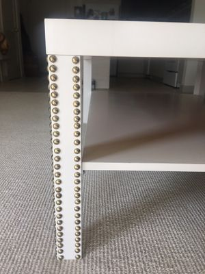 White Gold Nail Studded Coffee Table for Sale in Bethesda, MD