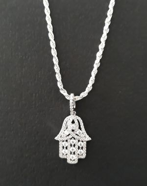 925 sterling silver Hamsa icedout Necklace for Sale in Los Angeles, CA