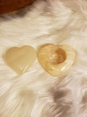 Heart Shaped Agate and stone votive for Sale in Toledo, OR