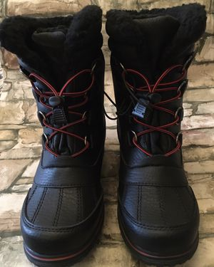 Kids Totes Adventure Gear Winter Rain Snow Fur Lined Boots Black/Red Sz 4 for Sale in Baltimore, MD