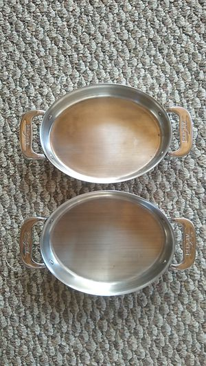 2 new All-Clad 8x6 stainless D5/D3 casserole gratin cooking dish pan pot Baking, oven Non-stick, $40 both, $28, Nordic Ware calphalon, Lodge, Griswold for Sale in San Diego, CA
