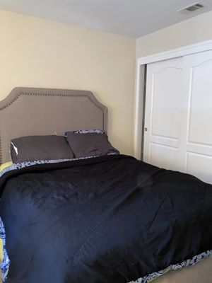 Bedframe With Grey Cloth Headboard for Sale in Modesto, CA