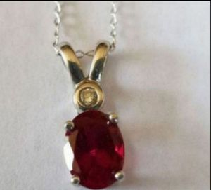 """Stunning 14K 18"""" white gold chain with genuine 10K ruby/diamond pendant for Sale in Lake Stevens, WA"""