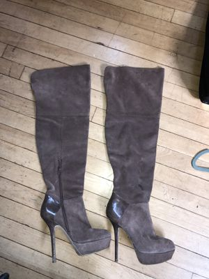 High heeled suede taupe/brown boots for Sale in Brookline, MA