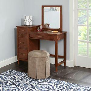 Emmeline Upholstered Backless Vanity Stool, Dark Gray [Item 2010] for Sale in Irving, TX