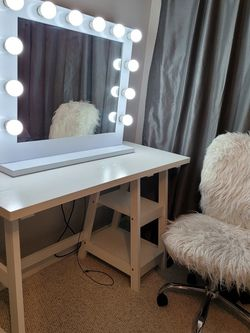 White Vanity Mirror Plus Lights And Outlet On Mirror And Desk With Fluffy White Chair for Sale in Silver Spring,  MD