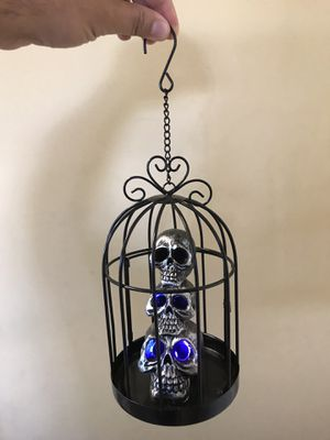 Bird cage with skulls inside and changing lights for Sale in Sierra Madre, CA