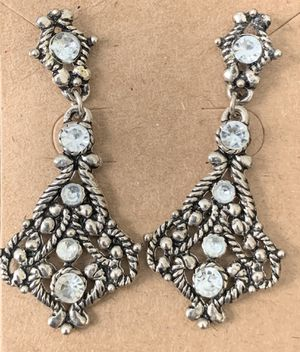 Vintage Dangle Earrings - Bling! Silver color with sparkle for Sale in Portland, OR