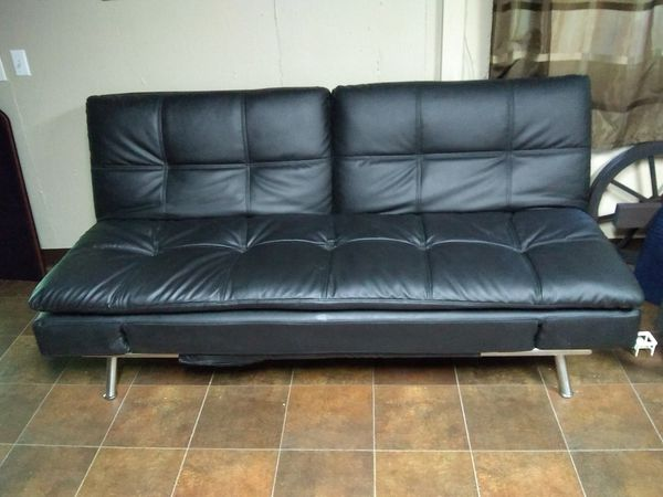 Black leather futon sofa