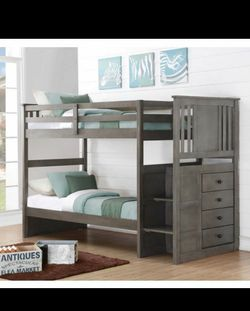 New Twin Bunk Bed With Stairs / Mattress Included for Sale in Houston,  TX