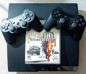 320GB PS3 SLIM WITH 2 CONTROLLERS 1 GAME BOTH CORDS (MODEL # - CECH-2501B) for Sale in Corona, CA