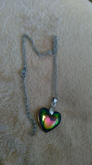 Colored heart pendant. Adjustable silver chain for Sale in Lake Wales, FL