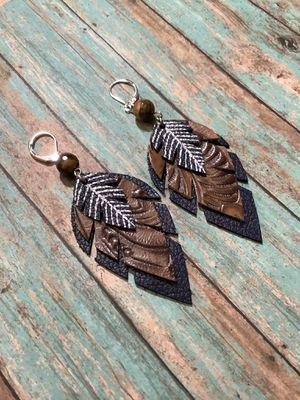 Leather earrings, leather feather earrings in blue, western and navy blue with bead for Sale in Danville, PA