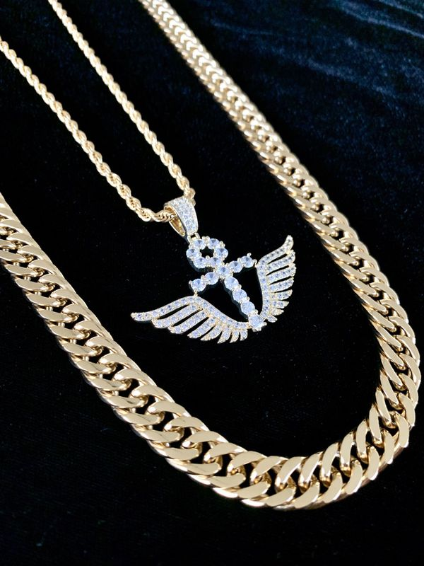 ⭐️ HAPPY VALENTINES DAY PERFECT GIFT!! ⭐️ ANKH WINGS FULL DIAMONDS CZ 18K GOLD ROPE CHAIN MADE IN ITALY