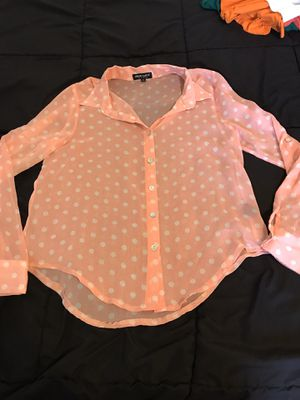 About a girl juniors? Ladies? m medium peach pink polka dot sheer blouse for Sale in Taylors, SC