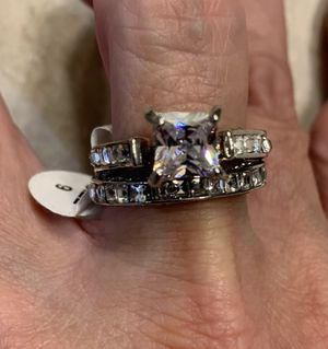 New 2 piece CZ sterling silver wedding ring size 9 for Sale in Palatine, IL