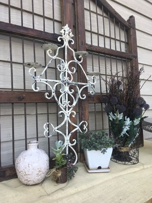 "Metal Cross candle holder 28"" tall x17"" wide $ 28. for Sale in Redlands, CA"