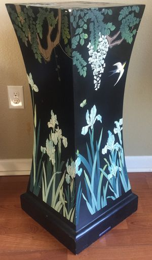 ANTIQUE 3 FOOT BLACK LACQUERED HAND CARVED PAINTED STAND - REPUBLIC OF CHINA for Sale in St. Petersburg, FL