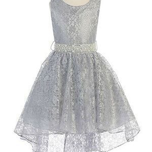 Little Girls Sleeveless Floral Lace Rhinestone High low Party Flower Girl Dress Silver Size 10 and 14 in SILVER for Sale in Boynton Beach, FL