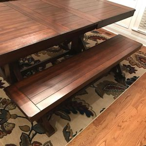World market Extending Dining farm table with matching bench for Sale in San Diego, CA